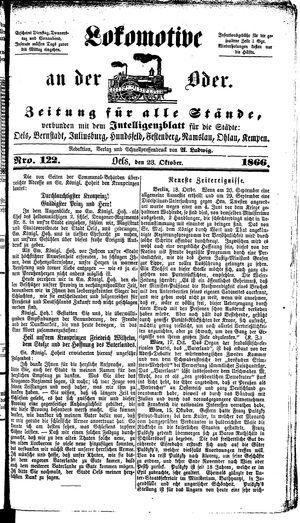 Lokomotive an der Oder vom 23.10.1866