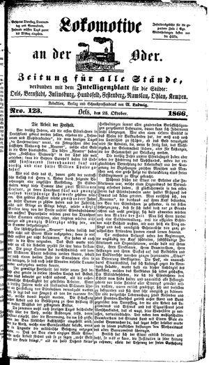 Lokomotive an der Oder vom 25.10.1866