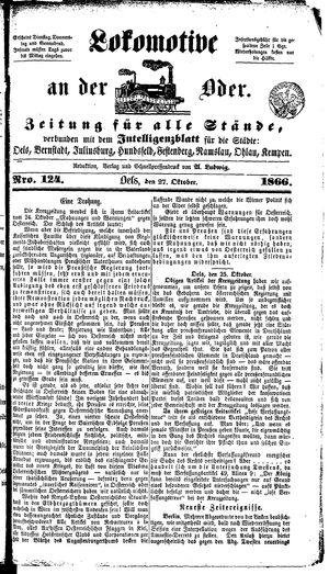 Lokomotive an der Oder on Oct 27, 1866
