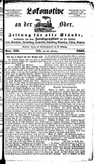 Lokomotive an der Oder vom 30.10.1866