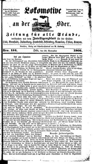 Lokomotive an der Oder vom 20.11.1866