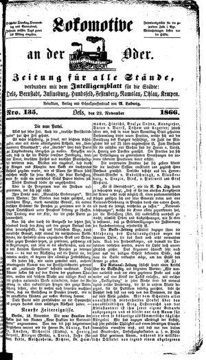 Lokomotive an der Oder vom 22.11.1866