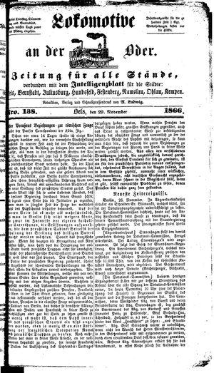 Lokomotive an der Oder vom 29.11.1866