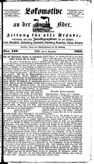 Lokomotive an der Oder vom 04.12.1866