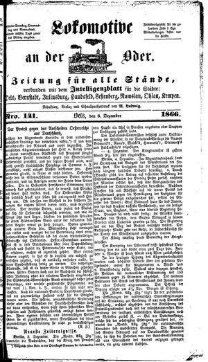 Lokomotive an der Oder vom 06.12.1866