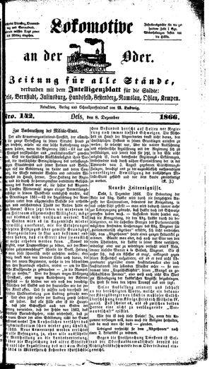 Lokomotive an der Oder vom 08.12.1866