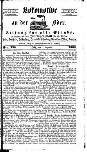 Lokomotive an der Oder vom 11.12.1866