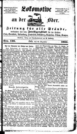 Lokomotive an der Oder vom 18.12.1866