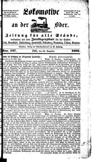 Lokomotive an der Oder vom 20.12.1866