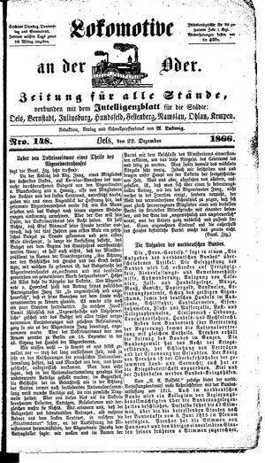 Lokomotive an der Oder vom 22.12.1866