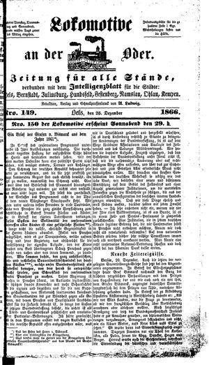 Lokomotive an der Oder vom 25.12.1866