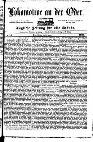 Lokomotive an der Oder vom 18.01.1876