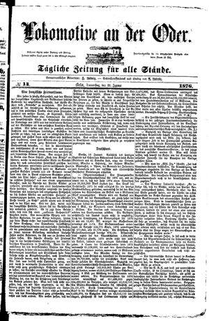 Lokomotive an der Oder vom 20.01.1876