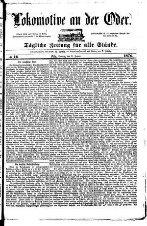 Lokomotive an der Oder vom 23.01.1876