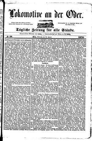 Lokomotive an der Oder vom 26.01.1876
