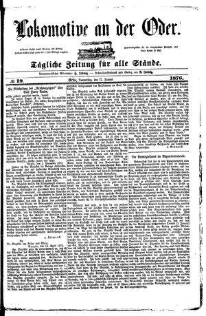 Lokomotive an der Oder vom 27.01.1876
