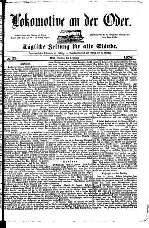 Lokomotive an der Oder vom 01.02.1876