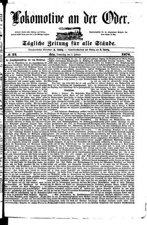 Lokomotive an der Oder vom 03.02.1876