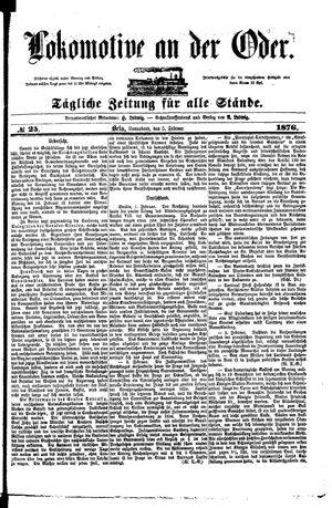 Lokomotive an der Oder vom 05.02.1876