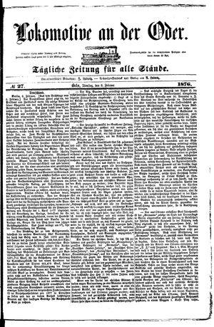 Lokomotive an der Oder vom 08.02.1876