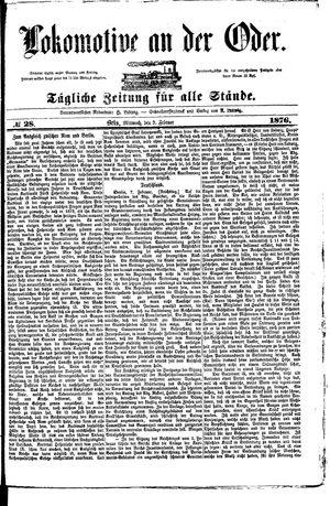 Lokomotive an der Oder vom 09.02.1876