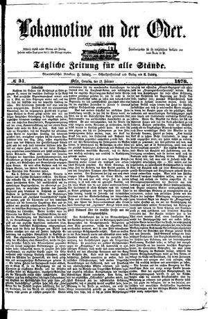 Lokomotive an der Oder vom 13.02.1876
