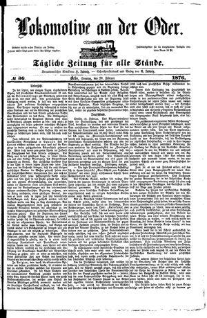 Lokomotive an der Oder vom 20.02.1876