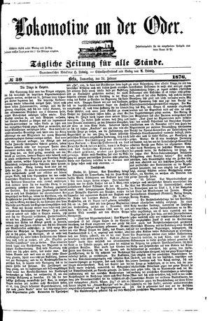 Lokomotive an der Oder vom 24.02.1876