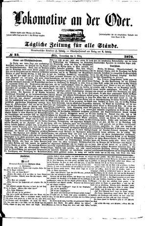 Lokomotive an der Oder vom 02.03.1876