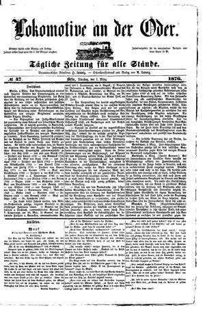 Lokomotive an der Oder vom 07.03.1876