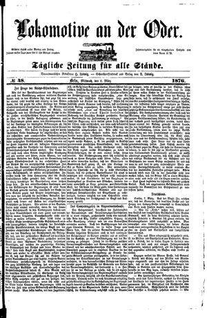 Lokomotive an der Oder vom 08.03.1876