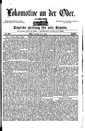 Lokomotive an der Oder vom 09.03.1876