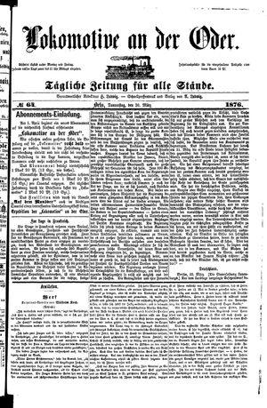 Lokomotive an der Oder vom 30.03.1876