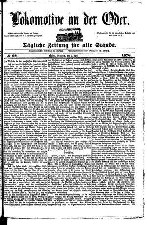 Lokomotive an der Oder vom 05.04.1876