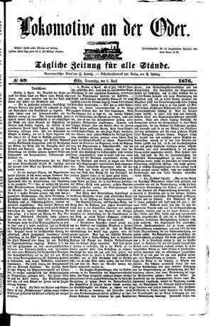 Lokomotive an der Oder vom 06.04.1876