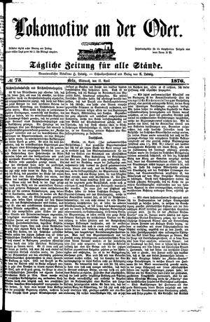 Lokomotive an der Oder vom 12.04.1876