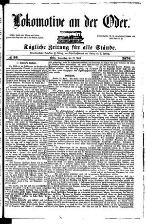 Lokomotive an der Oder vom 27.04.1876