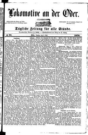 Lokomotive an der Oder vom 09.05.1876