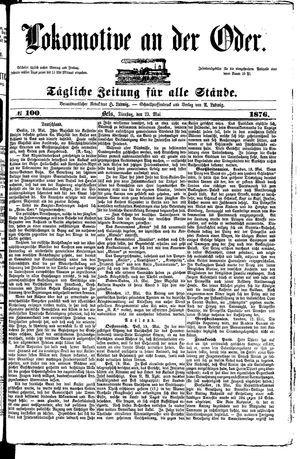 Lokomotive an der Oder vom 23.05.1876