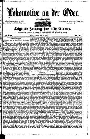 Lokomotive an der Oder vom 25.06.1876