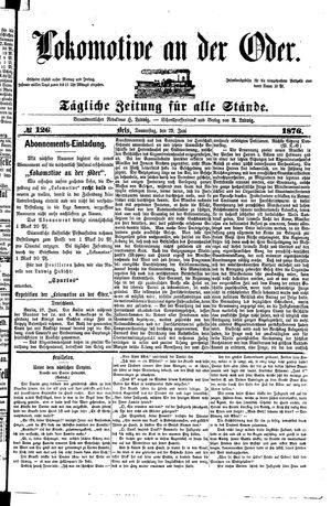 Lokomotive an der Oder vom 29.06.1876