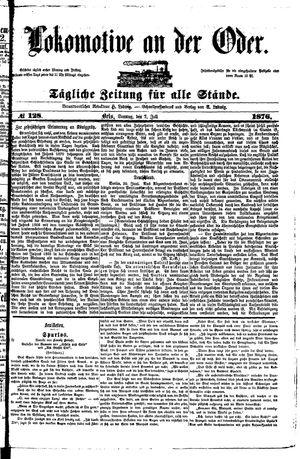 Lokomotive an der Oder vom 02.07.1876