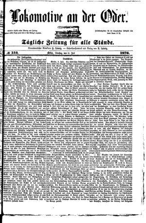 Lokomotive an der Oder vom 11.07.1876