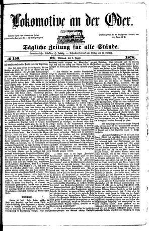 Lokomotive an der Oder vom 02.08.1876