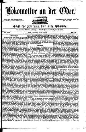 Lokomotive an der Oder vom 31.08.1876