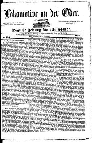 Lokomotive an der Oder vom 06.09.1876