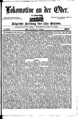 Lokomotive an der Oder vom 07.09.1876