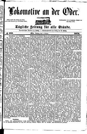 Lokomotive an der Oder vom 03.10.1876