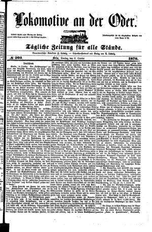 Lokomotive an der Oder vom 17.10.1876