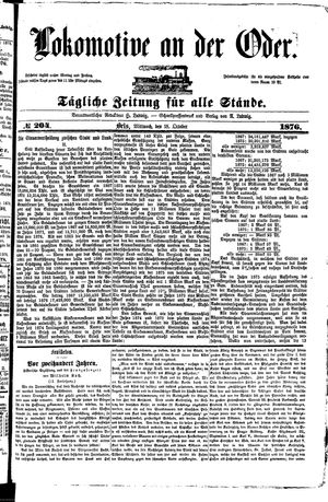 Lokomotive an der Oder vom 18.10.1876